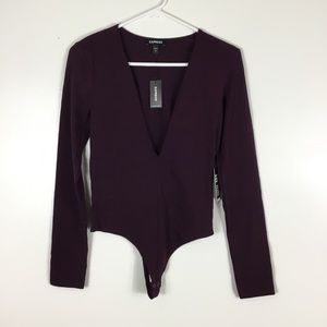 NEW Express Purple Long Sleeve Thong Bodysuit Smal